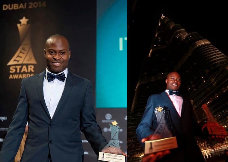 2014年国际乒联向阿鲁纳颁发最佳运动员奖。