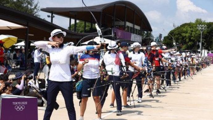 射箭女子个人赛中国三人全部晋级,其中杨晓蕾排名第14