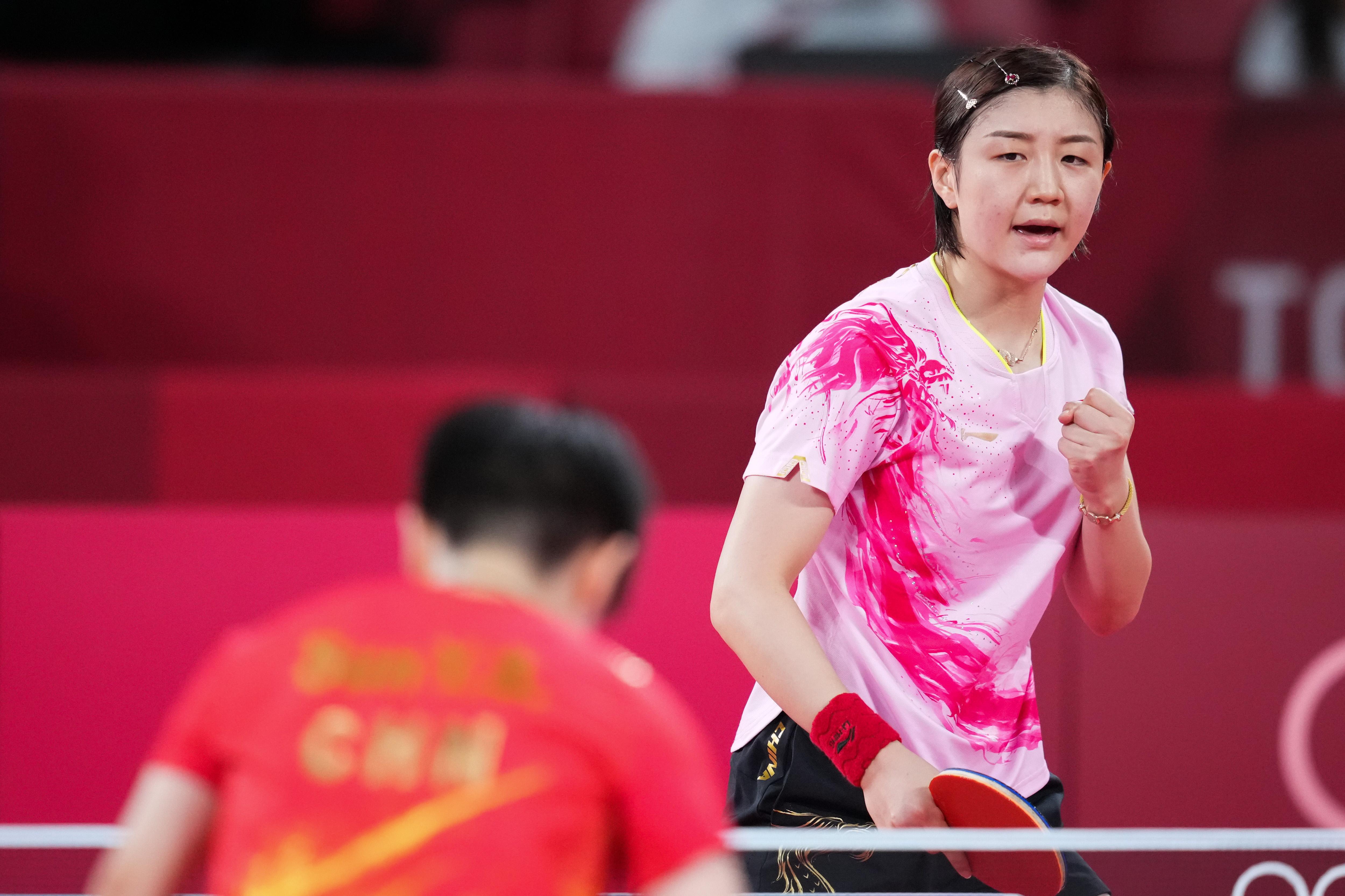 陈梦庆祝胜利。