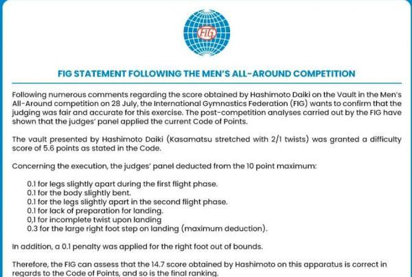 国际体联公布打分细则,表示判罚无误。
