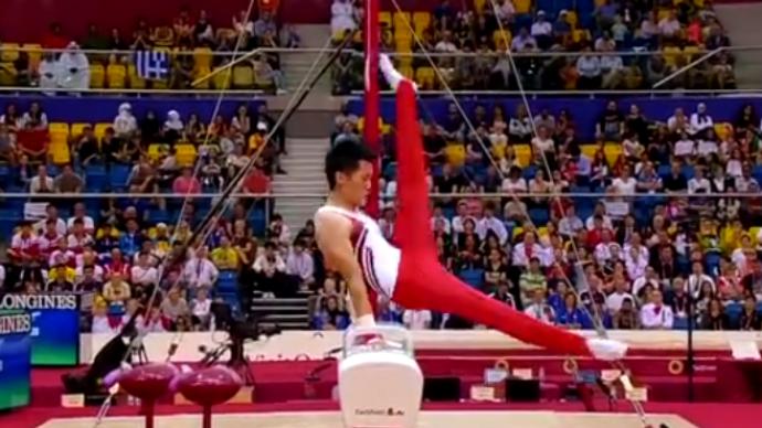 中国台北选手李智凯获体操男子鞍马银牌