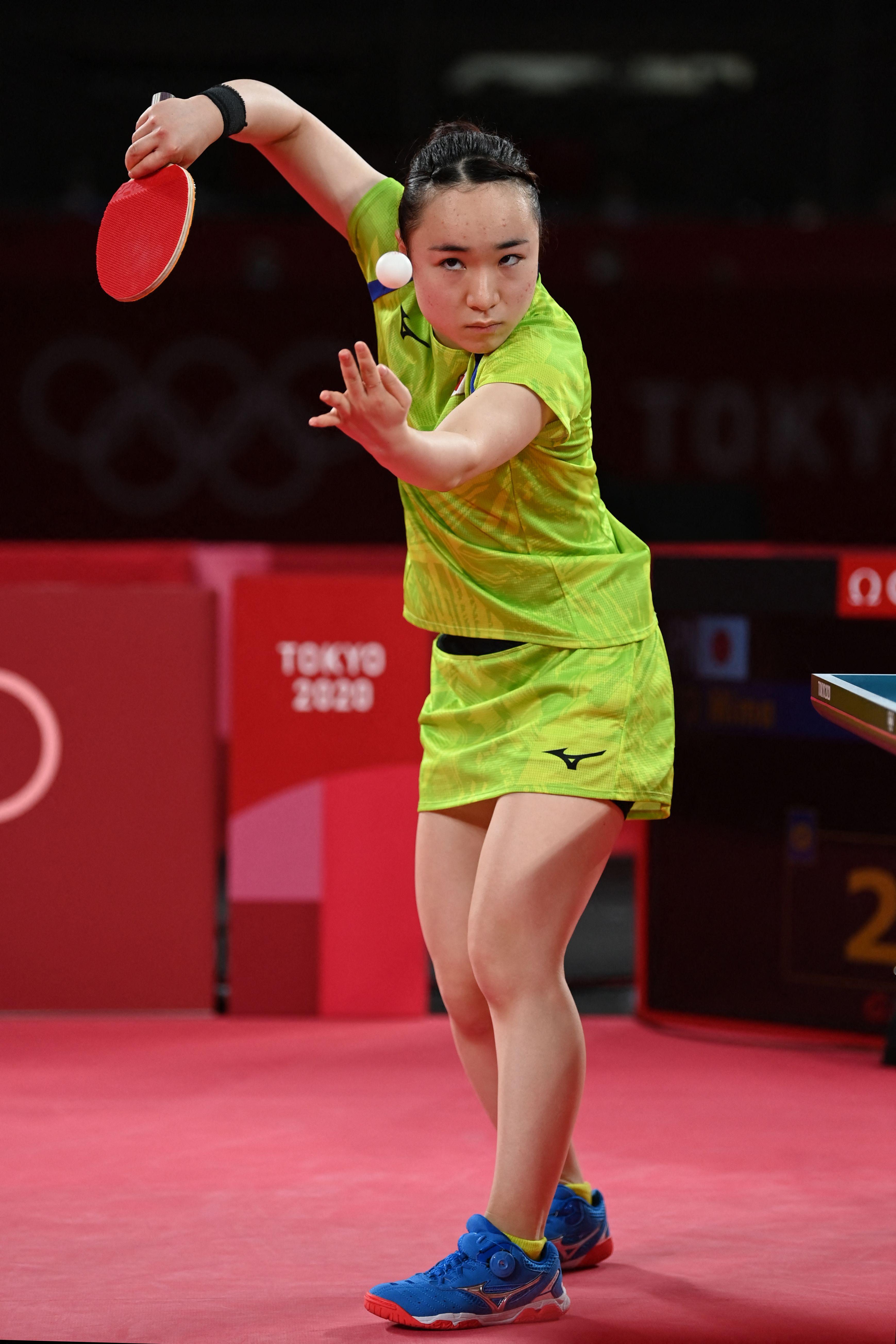 伊藤美诚在比赛中。