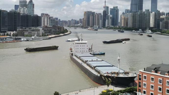 目击者描述浦东滨江被撞瞬间:海船直直撞向渡口,比雷还响