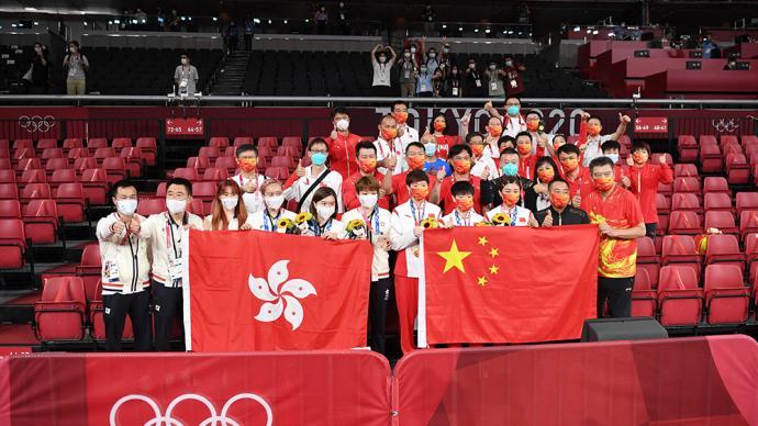 决战东京·夺冠|我们一起赢!国乒和季军中国香港队赛后合影