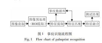 掌纹识别流程图 图片来源:钟德星论文