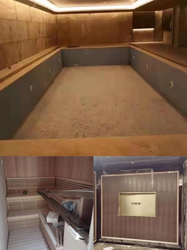 """地下""""会所""""里正在装修的泳池、KTV包厢、桑拿房 受访者供图"""