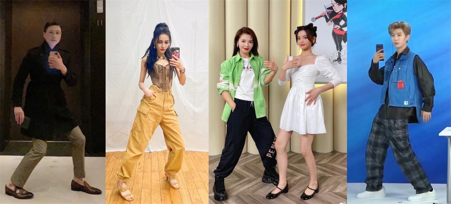 从左到右分别是徐勤根、迪丽热巴、刘涛、杨超越和范丞丞