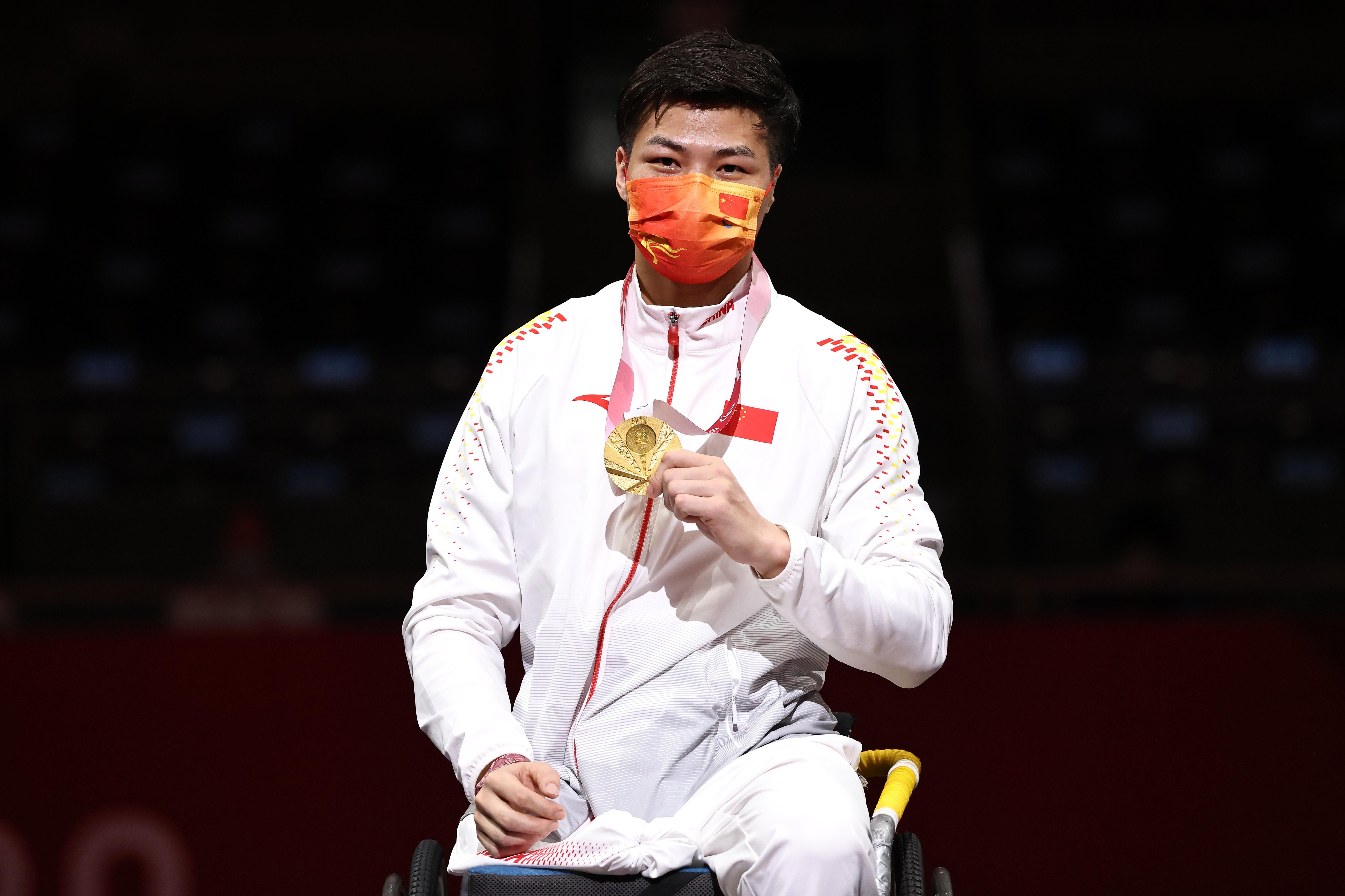 东京残奥会中国代表团首金获得者李豪。