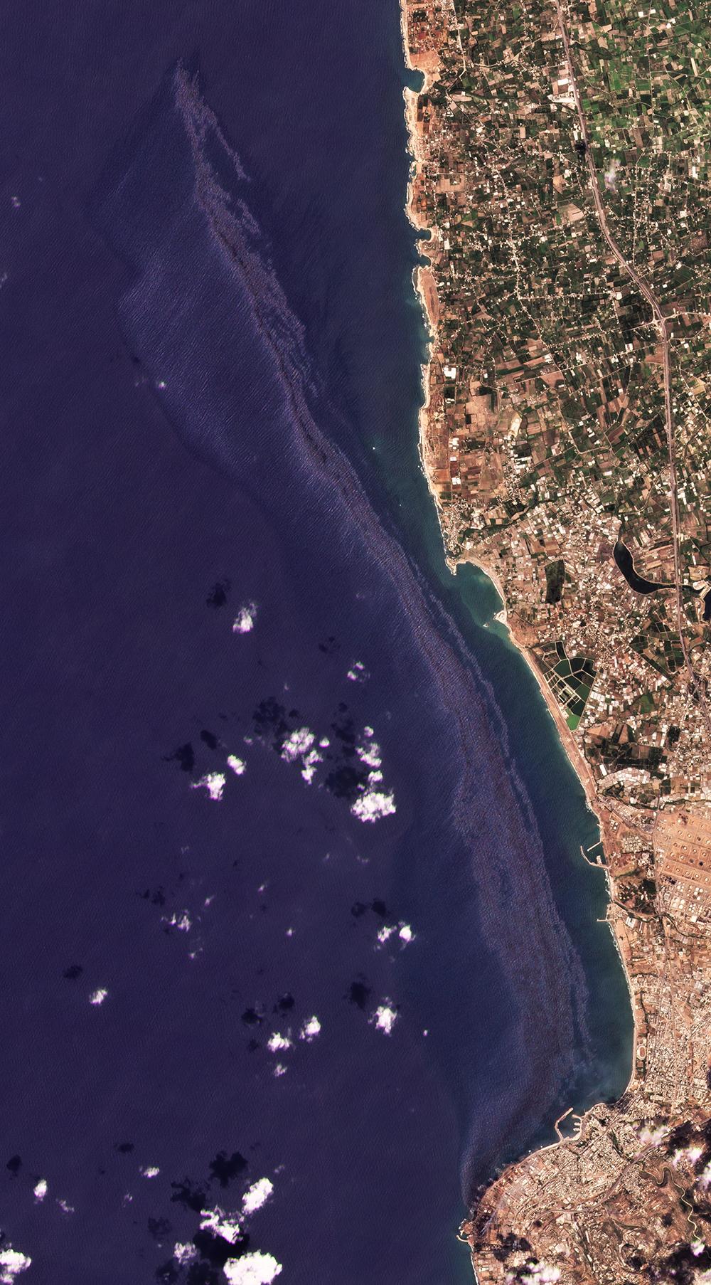 當地時間2021年9月1日,敘利亞最大煉油廠的石油泄漏正在擴大,并向整個地中海蔓延,當日油污抵達塞浦路斯的塞浦路斯島。