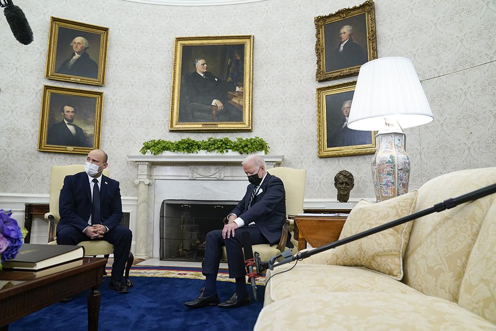 當地時間2021年8月27日,美國華盛頓特區,美國總統拜登與到訪的以色列總理貝內特舉行會晤。