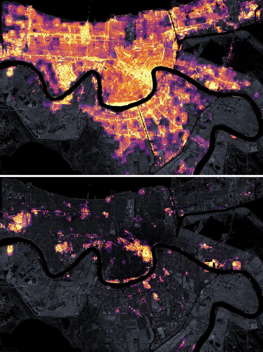 """當地時間2021年8月9日,美國路易斯安那州新奧爾良(上);當地時間2021年8月31日,美國路易斯安那州新奧爾良,美國宇航局衛星圖像記錄下颶風""""艾達""""致新奧爾良大規模斷電。"""