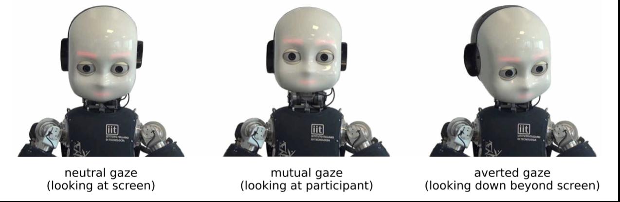 从左到右分别为:人形iCub机器人处于中间状态看向屏幕;iCub与参与者对视,看向参与者;iCub避免对视,看向屏幕下方