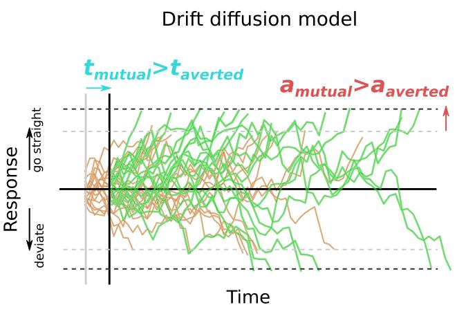 漂移扩散模型将决策描述为一个嘈杂的漂移过程,当跨越相应的边界时选择一个动作。假设机器人的凝视对模型参数的一个、两个或没有影响,测试了五个变体。根据贝叶斯参数估计,发现最佳拟合模型是将响应时间的差异对非决策时间t和决策阈值a产生影响的模型。
