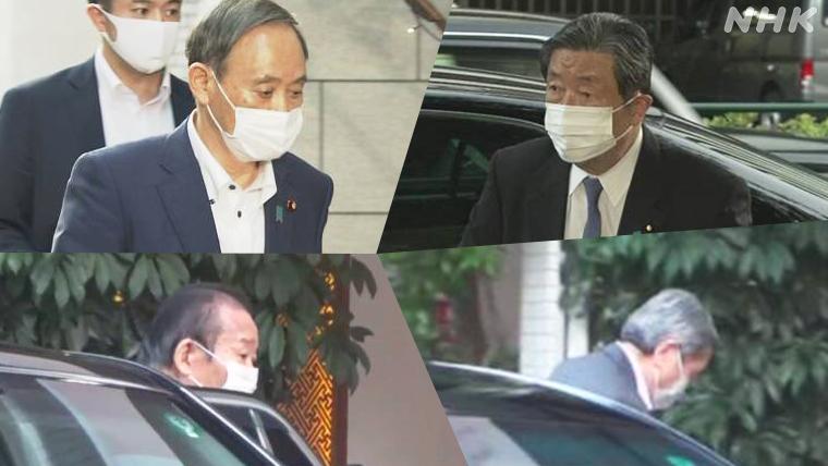 2020年6月,二阶俊博、菅义伟、林干雄、森山裕来到东京一家料理店会餐。图/NHK