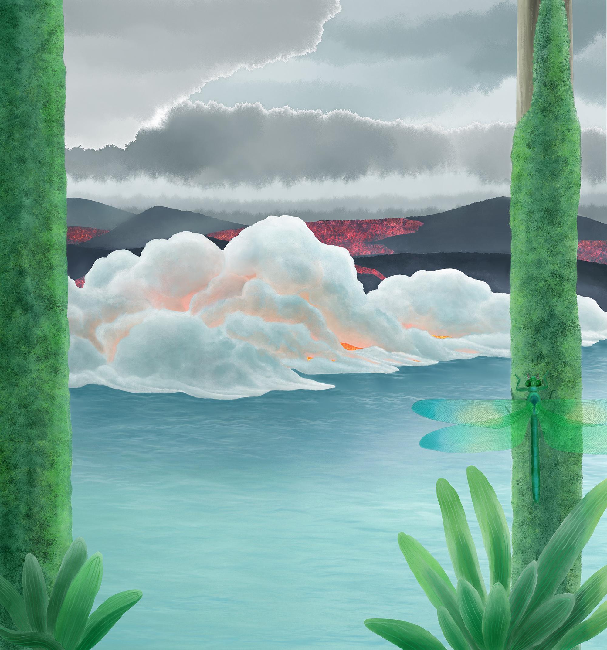 二叠纪末大灭绝想象图:致命的西伯利亚熔岩流入大海,史前生命的最后一瞥 绘图:H. Duan