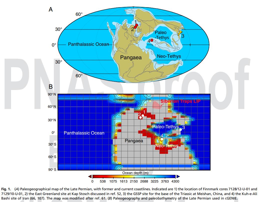 A:晚二叠世古地理图 B:地球系统模型中使用的晚二叠世古地理和古测深 图源:论文