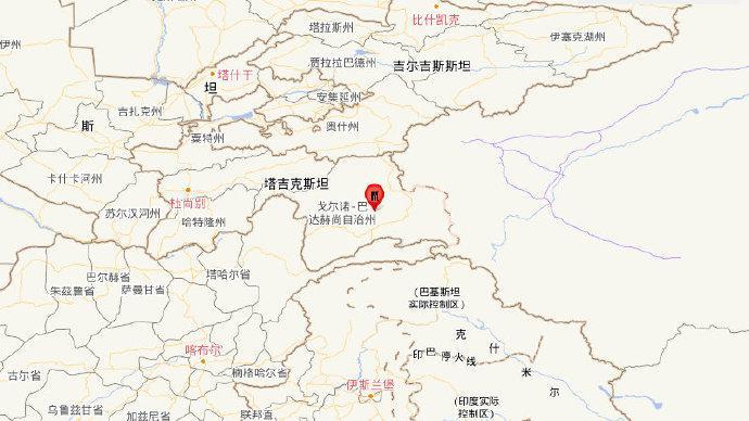 塔吉克斯坦發生5.7級地震,震源深度10千米