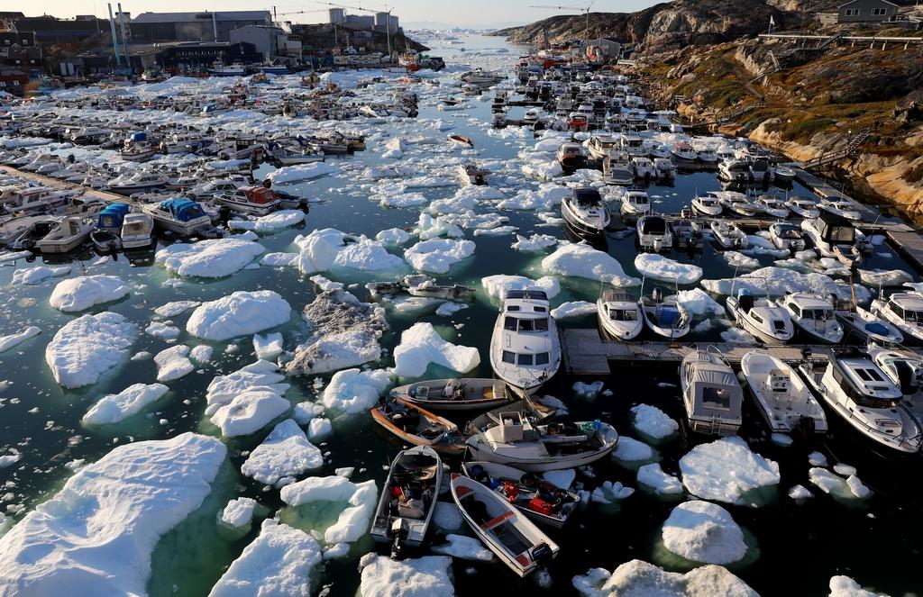 當地時間2021年9月2日,格陵蘭島伊盧利薩特,2021年將是格陵蘭島有記錄以來最大的冰雪融化年之一。