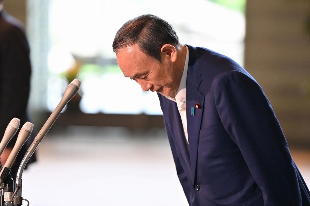 當地時間2021年9月3日,日本東京,日本首相菅義偉出席新聞發布會。