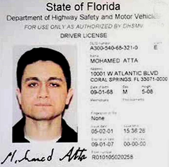 """穆罕默德·阿塔的證件照,""""9·11""""事件后反復出現在媒體報道中。"""