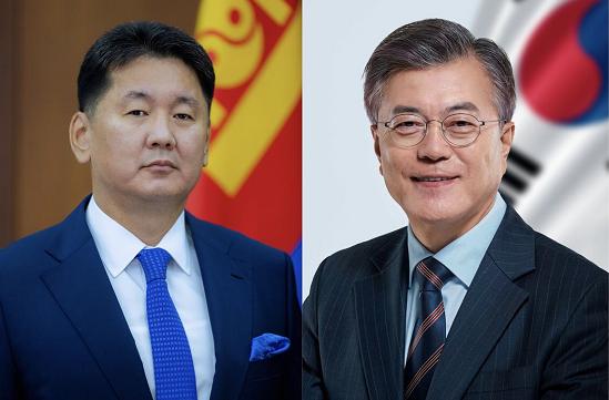 蒙古国总统和韩国总统。图片来源:蒙古国总统办公厅官网