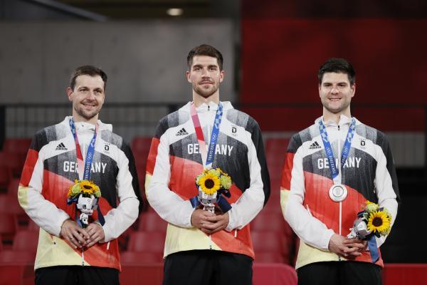 東京奧運會上,德國隊獲得乒乓球男團亞軍。