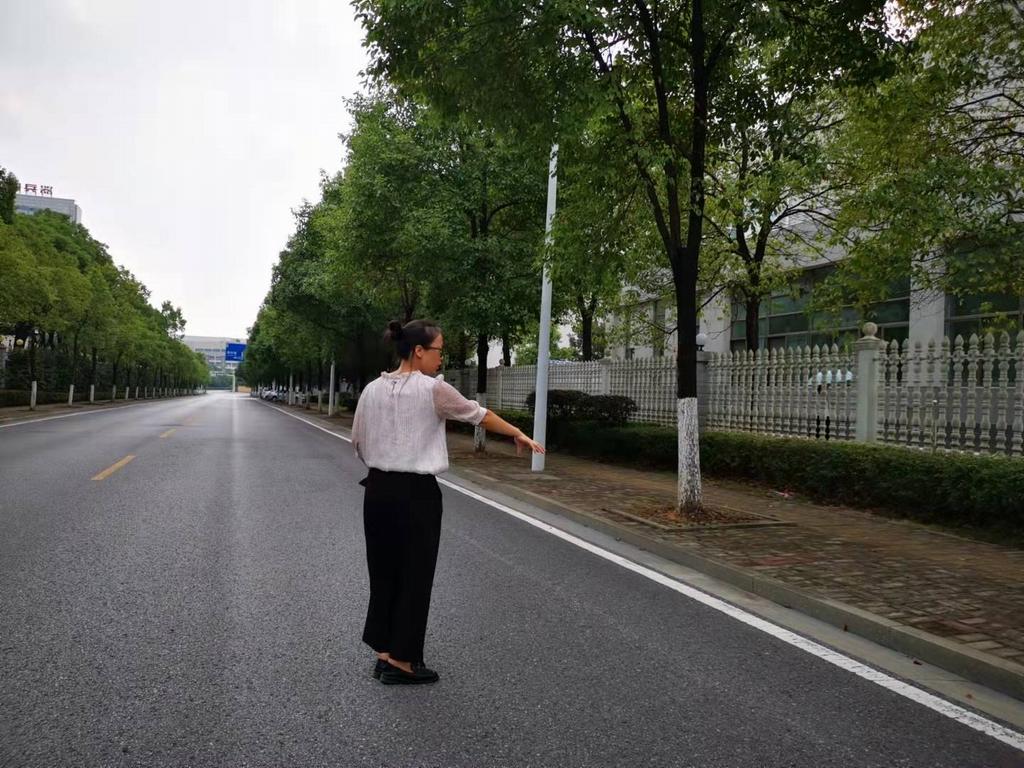 李某平介绍案发地点,当晚就是在这条马路边跳车,警方曾多次到此进行现场模拟实验。本文图片 澎湃新闻记者 朱远祥