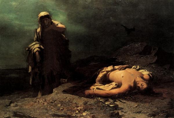安提戈涅在其兄长、反叛城邦的波吕尼刻斯的尸体前