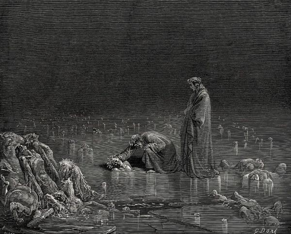 但丁与冰湖中的背叛者说话