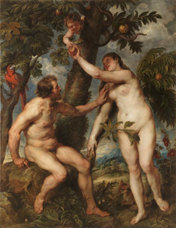 因好奇而偷食禁果的亚当与夏娃