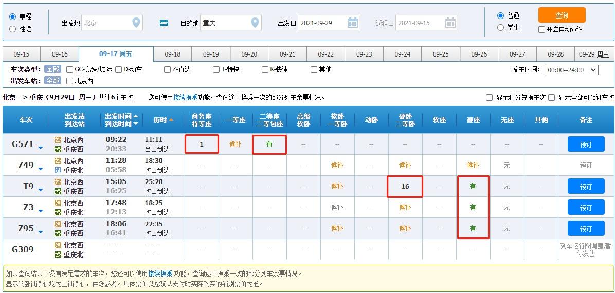 9月29日北京-重庆余票情况。 12306网站 图
