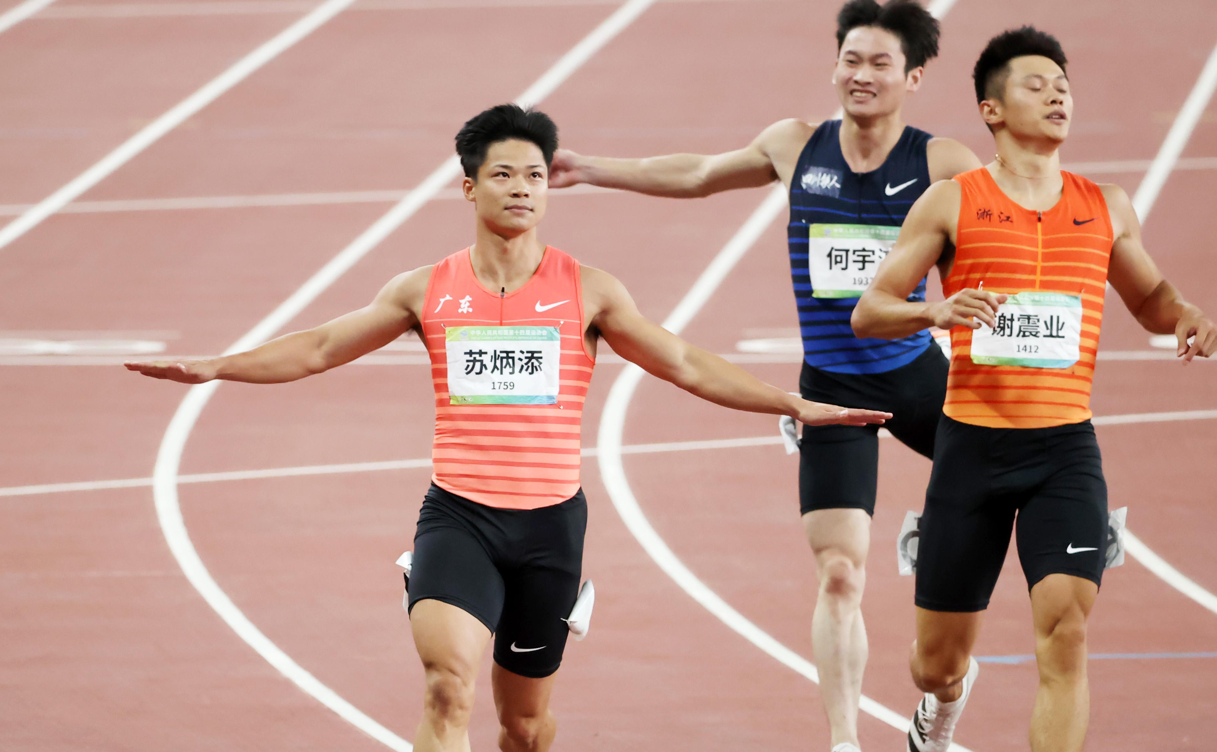 蘇炳添在預賽中輕松沖刺。