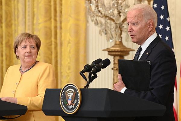 当地时间2021年7月15日,美国华盛顿特区,德国总理默克访问美国,与美国总统拜登举行会谈,讨论疫情应对、气候变化、经济复苏和安全等议题。