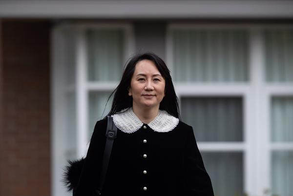 当地时间2021年4月1日,加拿大温哥华,华为首席财务官孟晚舟前往不列颠哥伦比亚省最高法院参加引渡听证会。