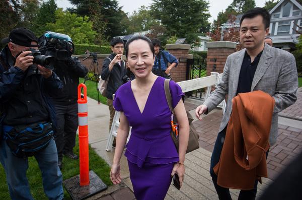 当地时间2019年9月23日,加拿大温哥华,华为公司首席财务官孟晚舟女士离开家前往不列颠哥伦比亚省高等法院出席引渡案听证。