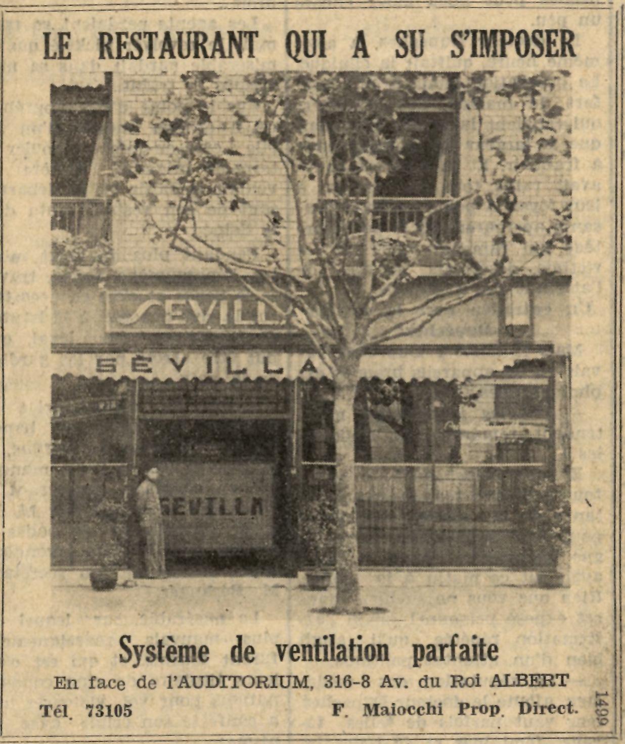 上海塞维利亚餐厅的广告刊登于《法文上海日报》(1935年6月29日) 。上海塞万提斯图书馆供图