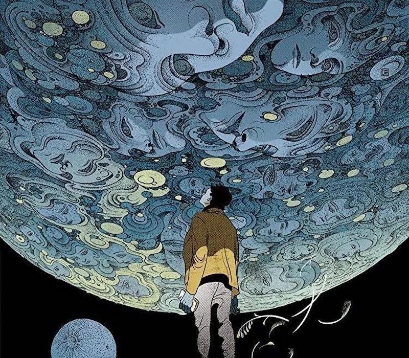 主人公来到索拉里斯星的探测站,见到了自己已逝妻子的幻象,似乎反倒是神秘的索拉里斯星海洋在探测来到此处的人类的内心世界(图像艺术家:Victo Ngai)