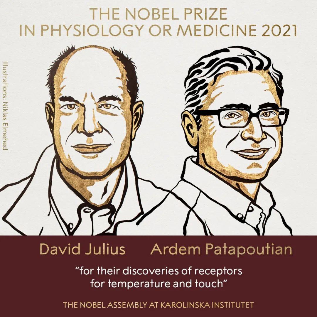 2021年诺贝尔生理学奖或医学奖得主 左:大卫·朱利叶斯( David Julius )右:阿登·帕塔普蒂安( Ardem Patapoutian)