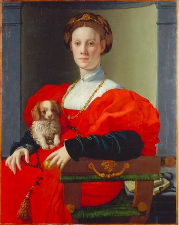 布龙齐诺,《女子和小狗》,约1532-1533