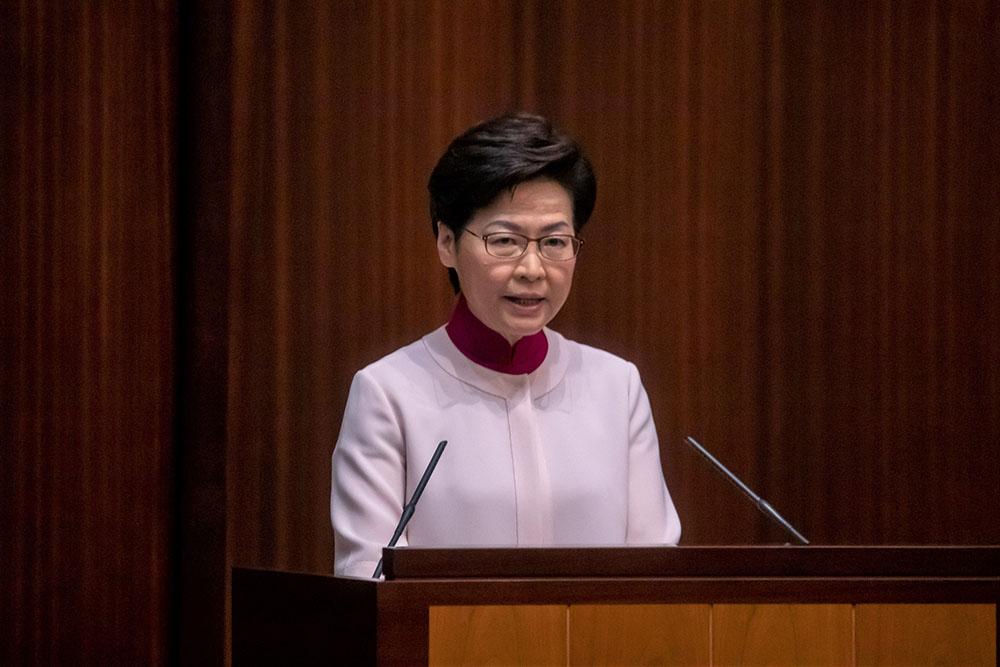 2021年10月6日,中国香港,香港特区行政长官林郑月娥在特区立法会发表她任期内的第五份施政报告。人民视觉 图