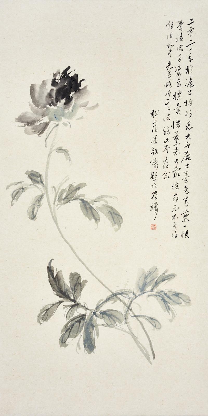陈如冬,临大千居士墨药图,69x35cm,纸本设色,2021年