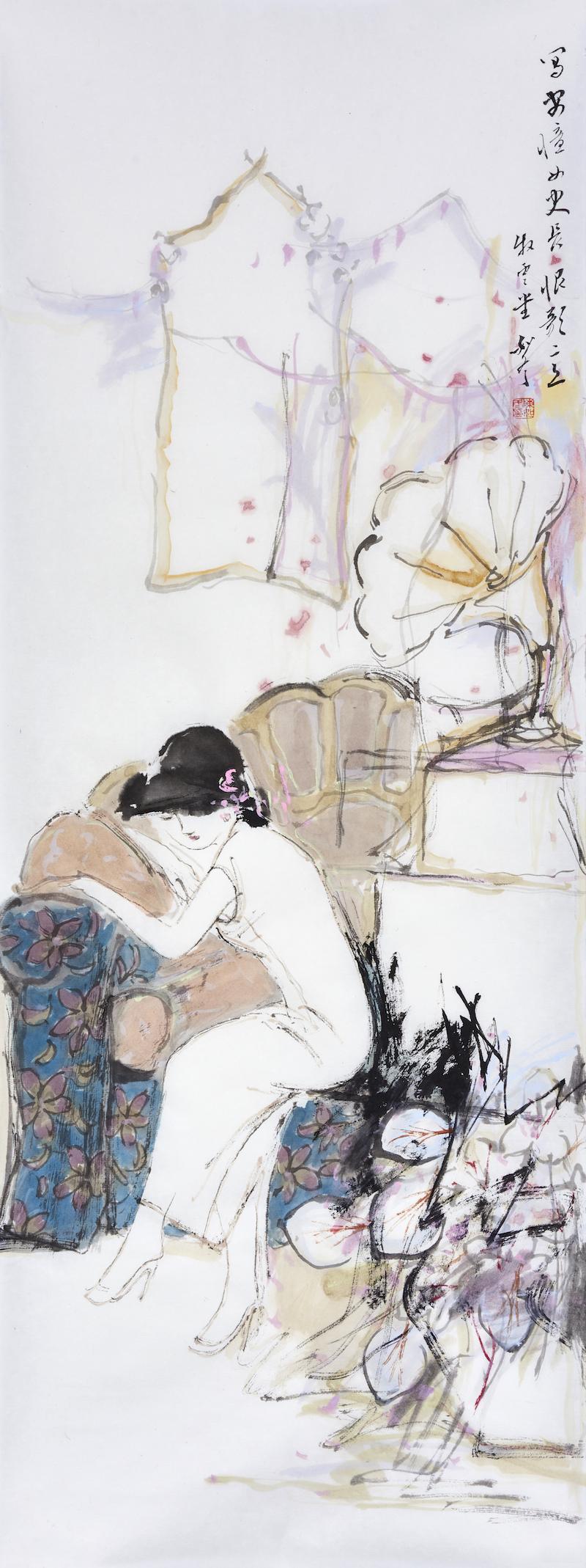 陈如冬,王安忆《长恨歌》画意,69x26cm,纸本设色,2021年