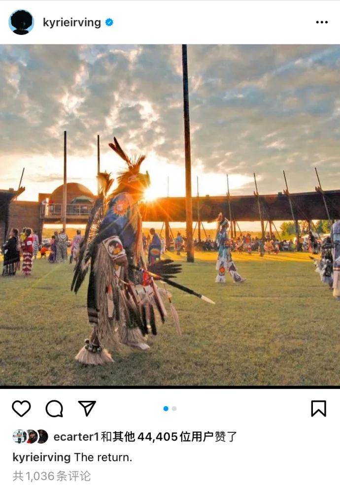 """欧文发布了一张土著元素的照片,并写下""""回归""""二字。"""