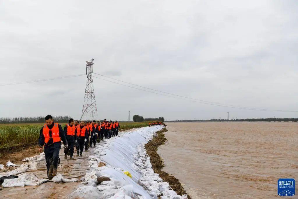 10月3日,在山东省邹平市码头镇段家村黄河生产堤上,抢险人员加固堤坝。图/新华网