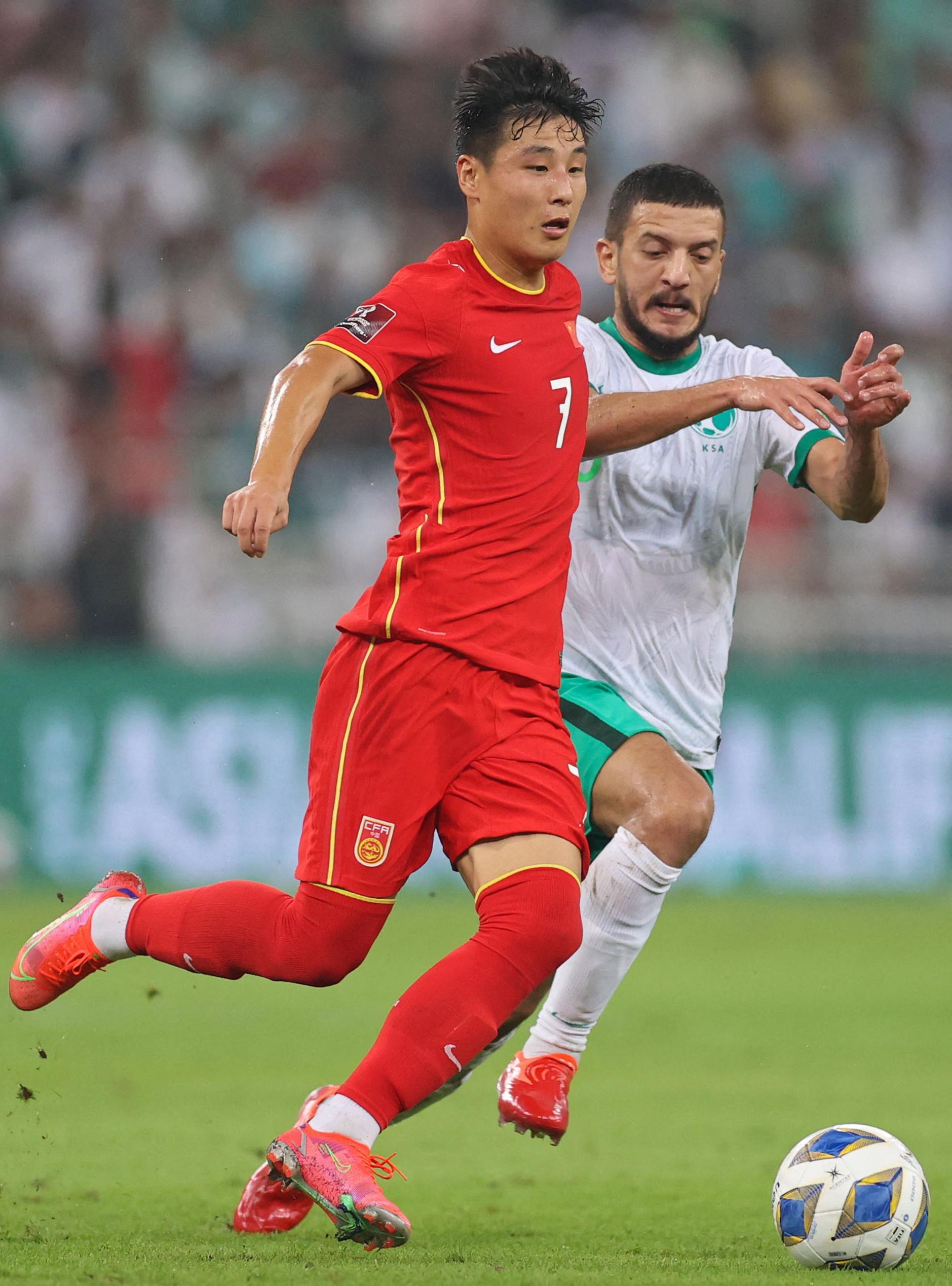 武磊在对阵沙特的比赛中。