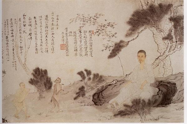 清 石涛《自写种松图小照》卷(局部) 台北故宫博物院藏