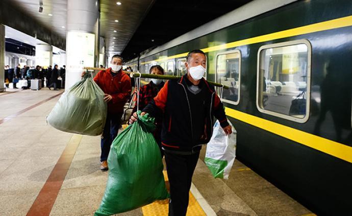 铁路已开行务工专列115列,近一周旅客发送量日均增6万人