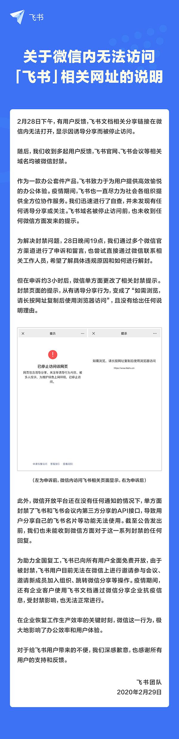 im体育:字节跳动称旗下办公产品飞书被微信全面封禁
