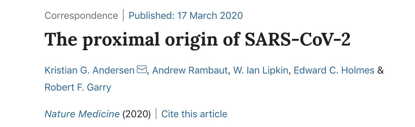 新冠病毒并非实验室产物!自然子刊发文:有两种自然选择假说
