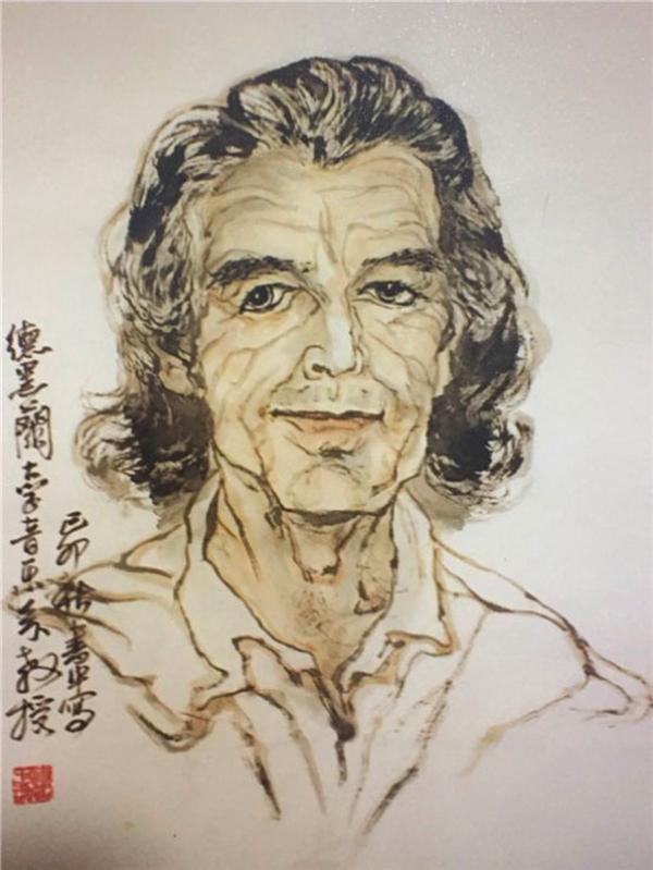 图:于桂丽先生傅书中为德黑兰大学艺术系教授画的画。